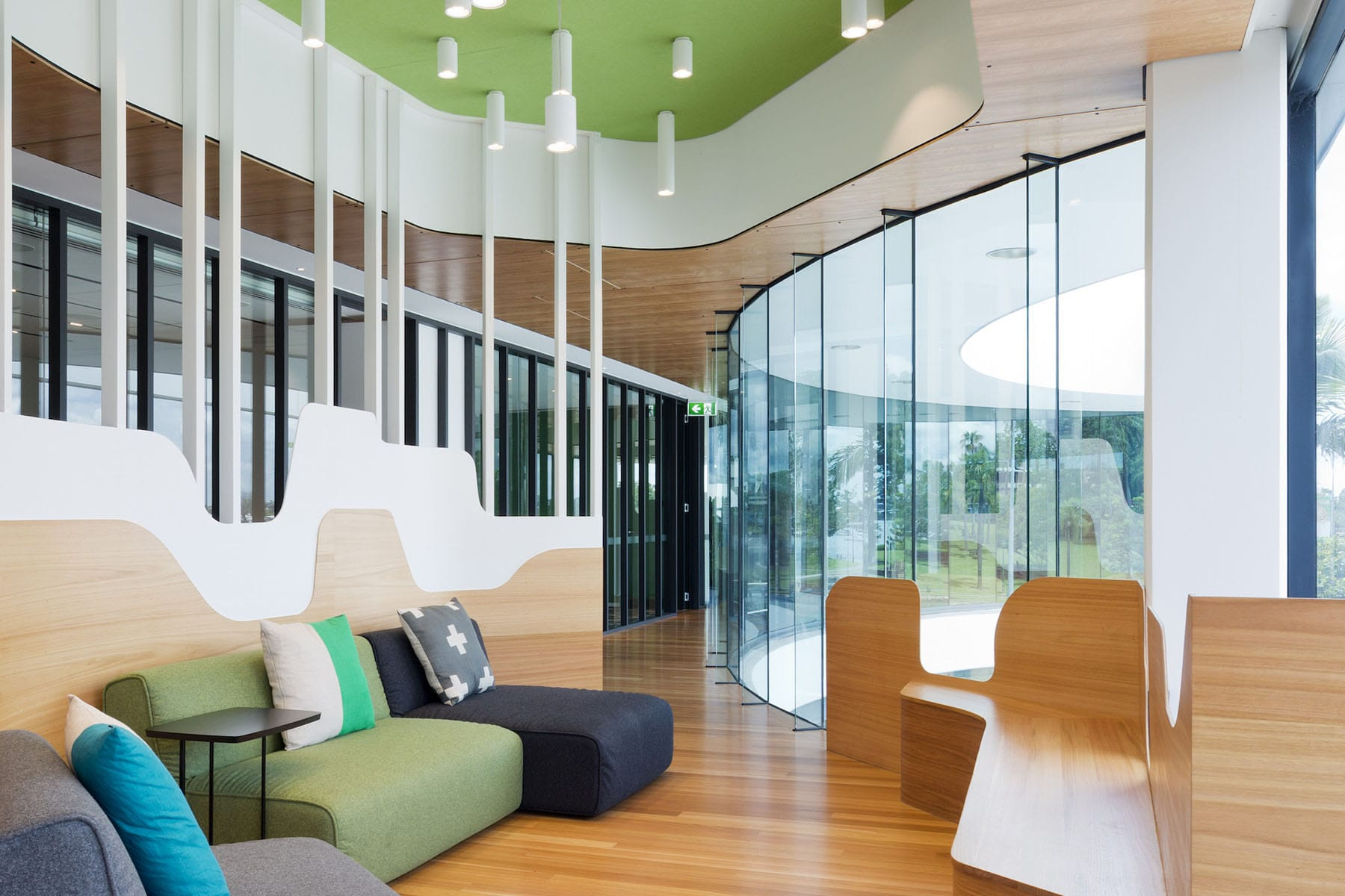 Create It Constructions. Murphy Pipe and Civil – Building Refurbishment. Construction Fitout. Office Fitout. Office Refurbishment. Building Fitout. Albion - Brisbane. Waiting Area. Corporate Lounge. Ceiling Feature with PCV Pipe and Lighting.