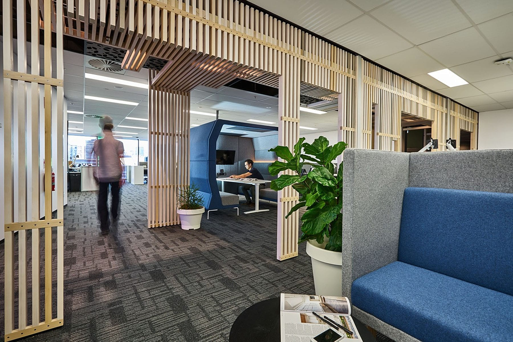 Create It Constructions - Commercial Office Fitout. Specialist Design Construction Company Brisbane. Shared Office Fitout. Coworking Space Fitout. Meeting Room. Office Desk. Desk Partition. Break-out areas. Lounge area.