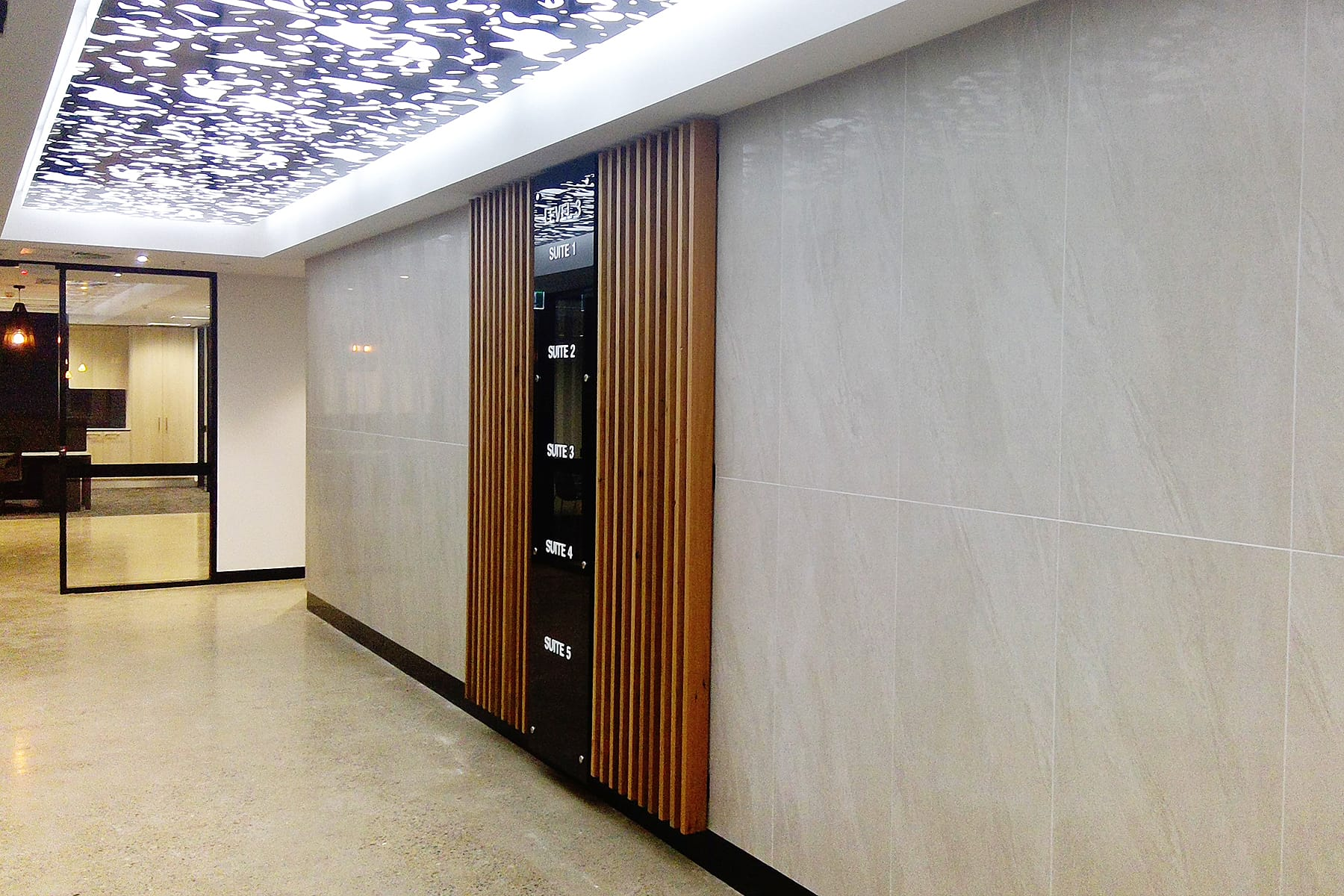 Create It Constructions - Mirvac Spec Suites. Body Corporate Fitout. Foyer Fitout. Elevator Lobby Fitout. Adelaide Street - Brisbane.